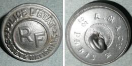 Rare Ancien Bouton D'uniforme En Alu Aluminium Embouti, POLICE D'ETAT Sureté Nationale, Boutons Militaria - Buttons