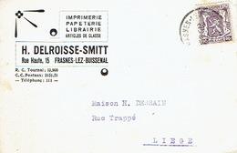 CP Publicitaire FRASNES-LEZ-BUISSENAL 1947 - H. DELROISSE-SMITT - Imprimerie-Papeterie-Librairie - Frasnes-lez-Anvaing