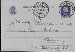 STORIA POSTALE REGNO - ANNULLO  COLLEGNO/TORINO SU BIGLIETTO POSTALE 04.09.1939 PER TORINO - 1900-44 Vittorio Emanuele III