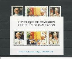 CAMEROUN  Scott 784-786, 786a  Yvert 768-770, BF23 (3+bloc) ** Cote 21  $ 1985 - Cameroun (1960-...)