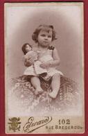Oude Foto Carte De Visite Portrait Enfant Child Doll Pop Poupee Toy Jouet Belle Epoque Edward Antwerpen Anvers Old Photo - Photos