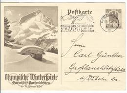GERMANY Olympic Stationery With Olympic Single Ring Machine Cancel Chemnitz - Winter 1936: Garmisch-Partenkirchen