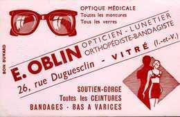 Buvard Oblin Opticien Lunetier 26 R Duguesclin Vitré (35) - Buvards, Protège-cahiers Illustrés