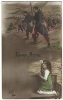 Carte Bonne Année 1915 - Patriotique - Soldats Au Front Et Petite Fille En Prière - Guerre 14-18. - Guerre 1914-18