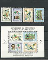 CAMEROUN  Scott 848-851, 851a  Yvert 827-830, BF24 (4+bloc) ** Cote 18  $ 1990 - Cameroun (1960-...)