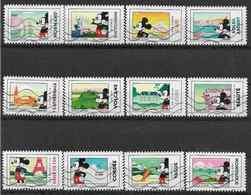 2018 FRANCE Adhésif 1582-93 Oblitérés, Mickey, Série Complète - France
