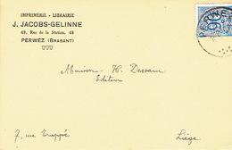 CP Publicitaire PERWEZ 1952 - J. JACOBS-GELINNE - Imprimerie-Librairie - Perwez