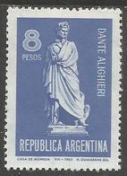 Argentina - 1965 Dante Anniversary MNH **   Sc  783 - Unused Stamps