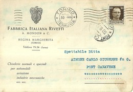 """1699 """" FABBRICA ITALIANA RIVETTI - REGINA MARGHERITA-TORINO-CONFERMA D'ORDINE """"CARTOLINA POSTALE  ORIG. SPEDITA - Commercio"""