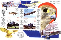 Liberia - The Royal Air Force - Hurricane X11-Lancaster PA434-Lancaster B2-Spitfire - 4v Feuillet Sheet Mint/Neuf/MNH - Aerei