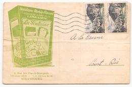 """France Carte Publicitaire """" Librairie La Fontaine """" De 1955 De Strasbourg Pour Saint-Dié - Covers & Documents"""
