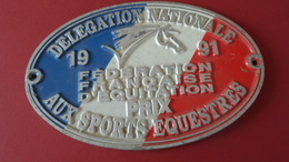EQUITATION PLAQUE  DELEGATION NATIONALE 1991  AUX SPORTS EQUESTRES    ****  RARE   A  SAISIR ***** - Equitation