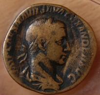 Alexandre Sévère Sesterce +234 Rome La Providence à Gauche - 4. The Severans (193 AD To 235 AD)