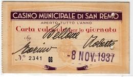 CASINO' MUNICIPALE DI SANREMO - TESSERA D'INGRESSO ENTRY CARD 1937 - Season Ticket