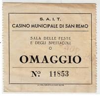 CASINO' MUNICIPALE DI SANREMO S.A.I.T. - BIGLIETTO OMAGGIO FREE ENTRY CARD 1937 - Season Ticket