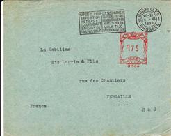 """EMA  BRUXELLES  Belgique 15 - VI -1938    """"Namur 23.7.1938  Exposition Métiers Et Ecoles D'Art  Loisirs Du Travailleur"""" - Marcofilia"""