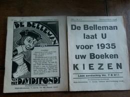 Twee Stuks 1934  DE  BELLEMAN   Van Het Davidsfonds - Revues & Journaux
