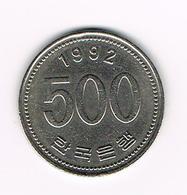 &  ZUID KOREA 500 WON 1992 - Corée Du Sud