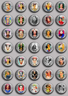 Frida Kahlo Painting Fan ART BADGE BUTTON PIN SET  (1inch/25mm Diameter) 105 DIFF - Pin