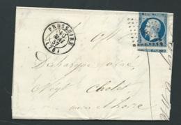 Lac, Yvert N° 14 Bleu Foncé Obltere Losange Pc 510 Bressuire En 1857     Aoa18013 - Postmark Collection (Covers)