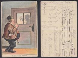 Ansichtskarte Humor Mann Mit Spruch Gebet Vor Der Schlacht Gestempelt 1916 - Cartes Postales