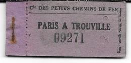 """Carnet 10 Tickets """"Paris à Trouville"""" / Cie Des Petits Chemins De Fer. - Chemins De Fer"""