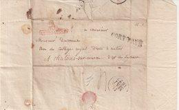 """FRANCE : MP .EN FRANCHISE . PORT PAYE . """" BUREAU DE LA COUR """" EN ROUGE . 1827 . - Marcophilie (Lettres)"""