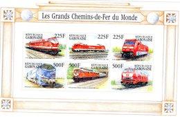 République Gabonaise  -  Les Grands Chemin-de-Fer Du Monde   -   6v Feuillet Sheet Mint/Neuf/MNH - Treni