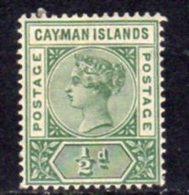 Cayman Islands QV 1900 ½d Deep Green, Wmk. Crown CA, Hinged Mint, SG 1 - Cayman Islands
