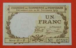 1918 Ww1 Billet Chambre Commerce Perpignan Maréchal Joffre Imp Morer Nenezet Perpignan 1 Franc  66 PO Catalan - Guerre 1914-18
