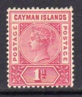 Cayman Islands QV 1900 1d Rose-carmine, Wmk. Crown CA, Hinged Mint, SG 2 - Cayman Islands