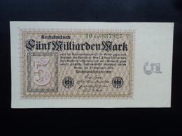 ALLEMAGNE : 5 MILLIARDEN MARK   10.9.1923     P 115b     B++ * - [ 3] 1918-1933 : Weimar Republic