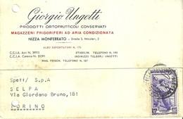 """1712 """" GIORGIO UNGETTI-PRODOTTI ORTOFRUTTICOLI CONSERVATI-MAG. FRIGOR. AD ARIA CONDIZIONATA """"CART. POST. ORIG. SPED. - Negozi"""