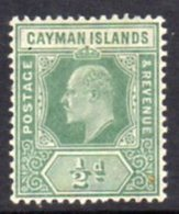Cayman Islands KEVII 1905 ½d Green, Wmk. Multiple Crown CA, Hinged Mint, SG 8 - Cayman Islands