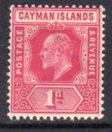 Cayman Islands KEVII 1905 1d Carmine, Wmk. Multiple Crown CA, Hinged Mint, SG 9 - Cayman Islands