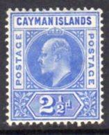 Cayman Islands KEVII 1905 2½d Bright Blue, Wmk. Multiple Crown CA, Hinged Mint, SG 10 - Cayman Islands