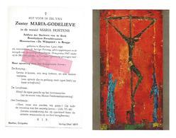 """Z 332. Zuster MARIA-GODELIEVE (M. HOSTENS) -Addicte/ Monasterium """"De Wijngaard""""BRUGGE - °ROESELARE 1928/+1967 - Andachtsbilder"""
