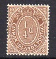 Cayman Islands KEVII 1908 ¼d Brown, Wmk. Multiple Crown CA, Hinged Mint, SG 38 - Cayman Islands