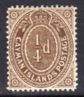 Cayman Islands KEVII 1908 ¼d Grey-brown, Wmk. Multiple Crown CA, Hinged Mint, SG 38a - Cayman Islands
