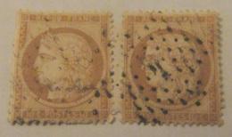 """2 Timbres Cérès 10c Bistre-Jaune """"Siège De Paris"""" YT N°36 Sur Fragment - Oblitération Etoile Chiffrée N°4 Rue D'Enghien - 1870 Siège De Paris"""