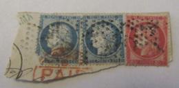 3 Timbres Cérès 25c Et 80c YT N°57 Et 60A Sur Fragment - Oblitération Etoile + Cachet Rouge - 1871-1875 Cérès