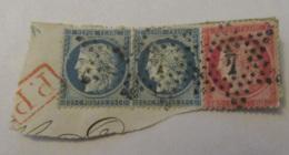 3 Timbres Cérès 25c Et 80c YT N°57 Et 60A Sur Fragment - Oblitération Etoile Chiffrée 4 Rue Enghien + Cachet Rouge PP - 1871-1875 Cérès