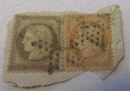 2 Timbres Cérès 40c YT N°38 Et 30c YT N°56 Sur Fragment - Oblitération étoile - 1870 Siège De Paris