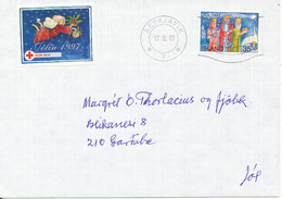 Iceland Cover Reykjavik 17-12-1997 Single Franked + Christmas Seal (the Flap On The Backside Of The Cover Is Missing) - 1944-... Republique
