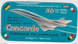 étiquette De Fromage:   Concorde - Avion , Fabriqué En Lorraine  Hutin ( écriture A Gauche) - Fromage