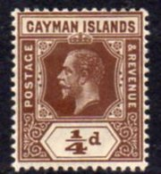 Cayman Islands GV 1912-20 ¼d Brown, Wmk. Multiple Crown CA, Hinged Mint, SG 40 - Cayman Islands