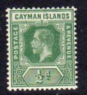 Cayman Islands GV 1912-20 ½d Green, Wmk. Multiple Crown CA, Hinged Mint, SG 41 - Cayman Islands