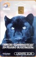 Guatemala - GT-TLG-0005, Telgua - Ladatel, Black Panther, GEM5 (Black), 20Q, 1999, Used - Guatemala