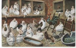 ENFANTS ET POULETS .1904....  GERS  ENVOYEE A MAUVEZIN 32.. A LA BOUCHERIE - Children And Family Groups