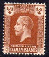 Cayman Islands GV 1921-6 ¼d Yellow-brown, Wmk. Multiple Script CA, Hinged Mint, SG 69 - Cayman Islands
